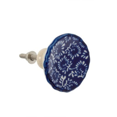 Indigo Bloom Ceramic Knob