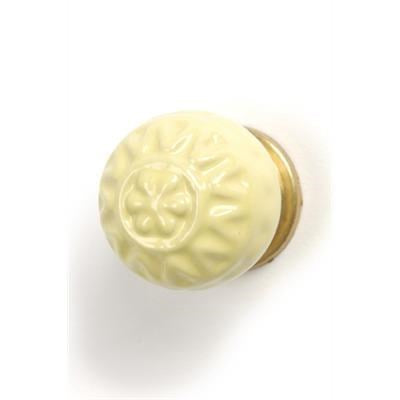 Embossed Ceramic Knob, Yellow