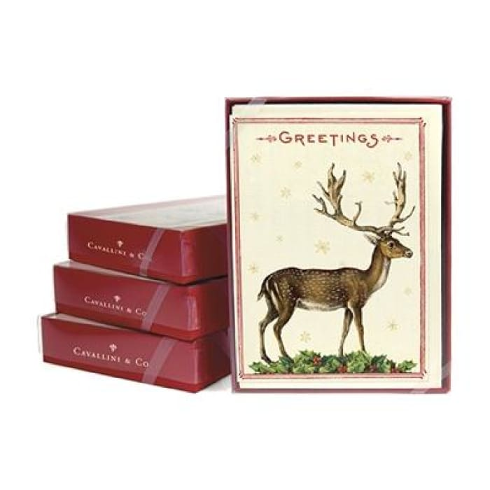 Boxed Note Cards (set of 10) | Christmas Deer 2 | cavallini | $16.00
