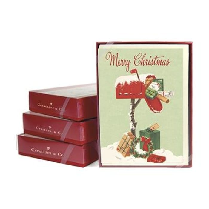 Boxed Note Cards (set of 10) | Christmas Mailbox | cavallini | $16.00