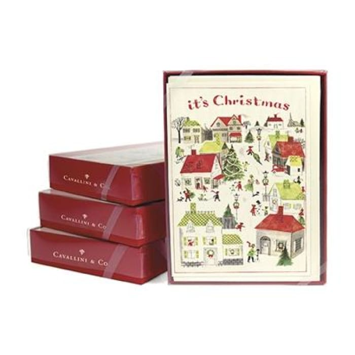 Boxed Note Cards (set of 10) | Christmas Village | cavallini | $16.00