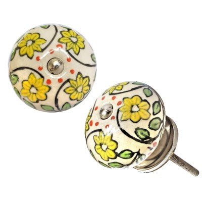 Ceramic Green Flower Round Knob
