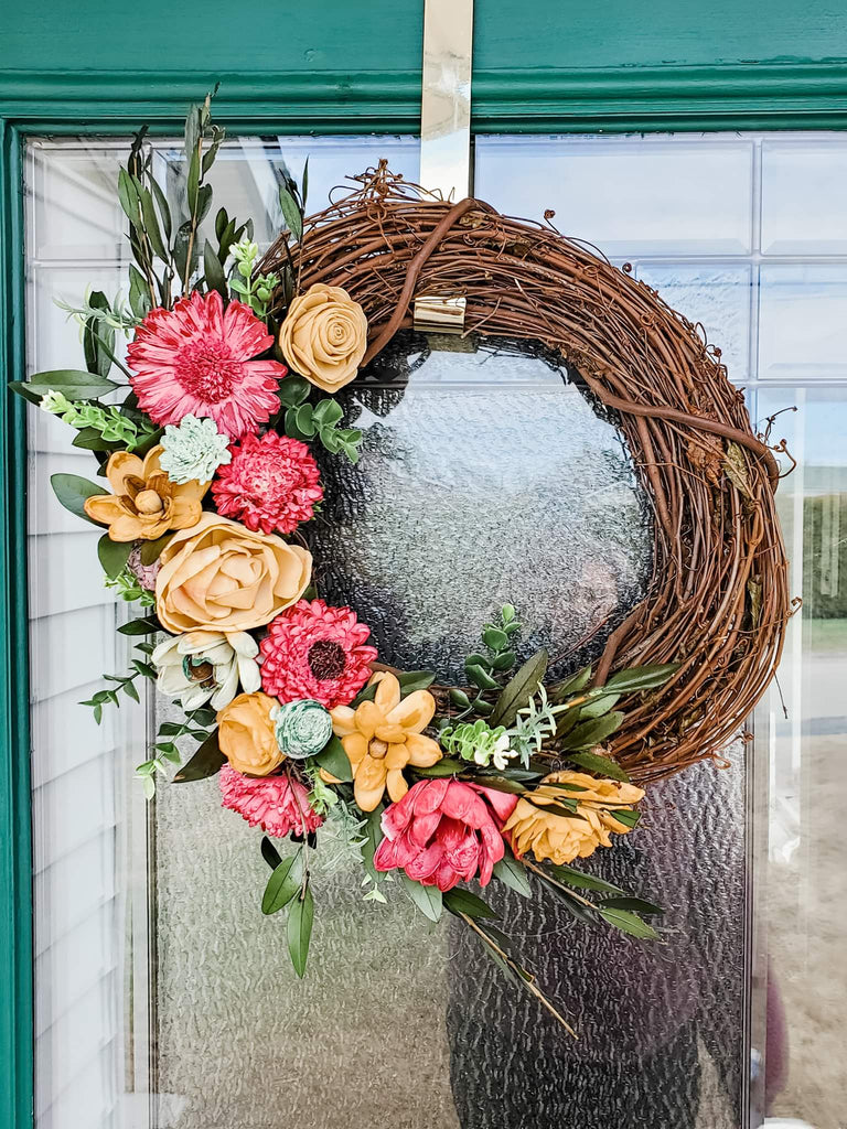 Wood Flower Wreath Kit