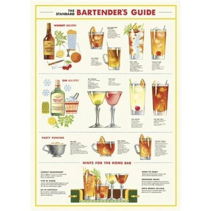 Wraps & Posters | Bartenders Chart | cavallini | $6.00