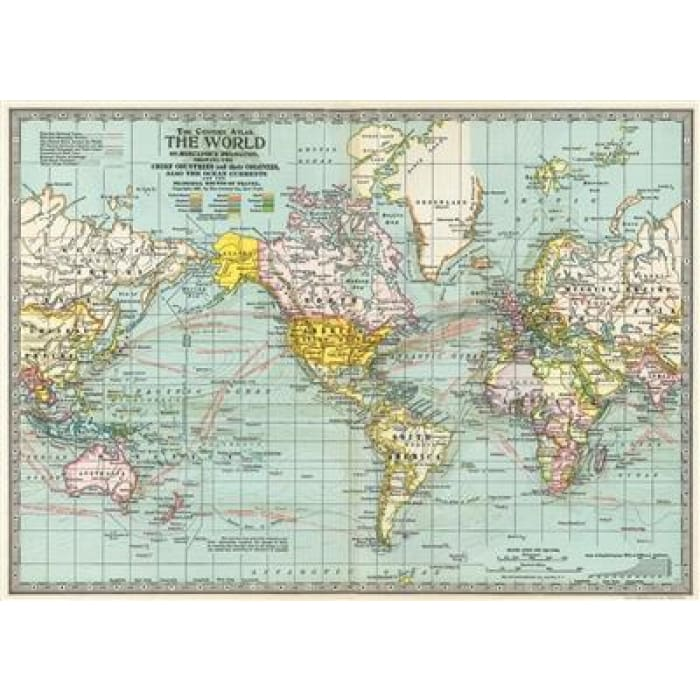 Wraps & Posters | World Map No.3 | cavallini | $6.00
