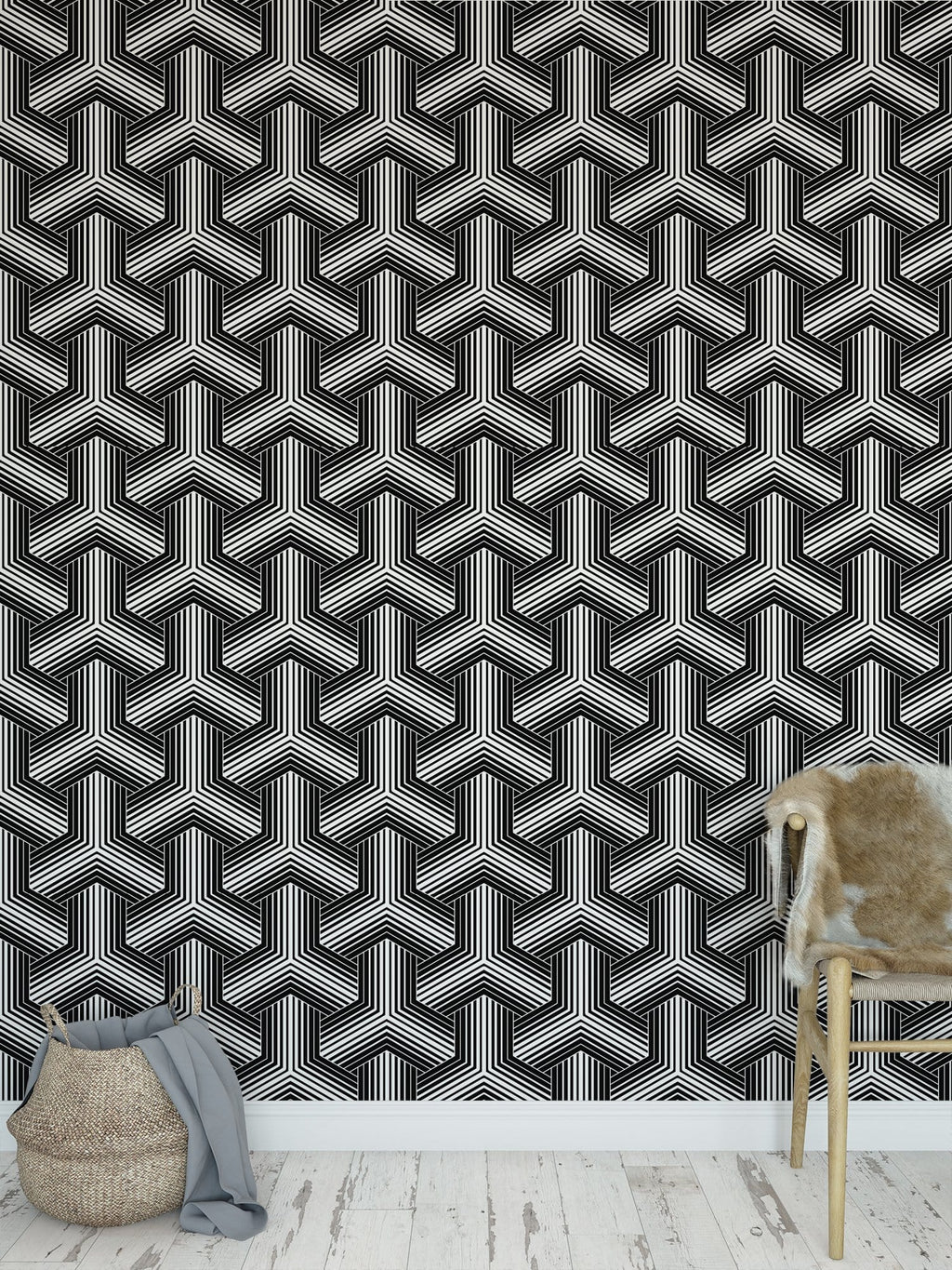 black and white basketweave pattern peel and stick wallpaper