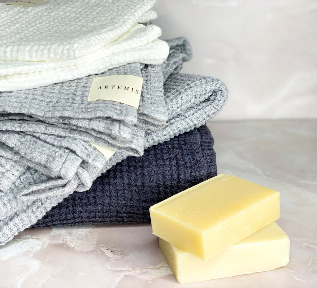 Dark Gray Waffle Linen Wash Cloth Set