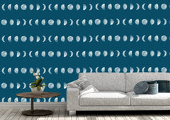Blue New Moon Peel and Stick Wallpaper