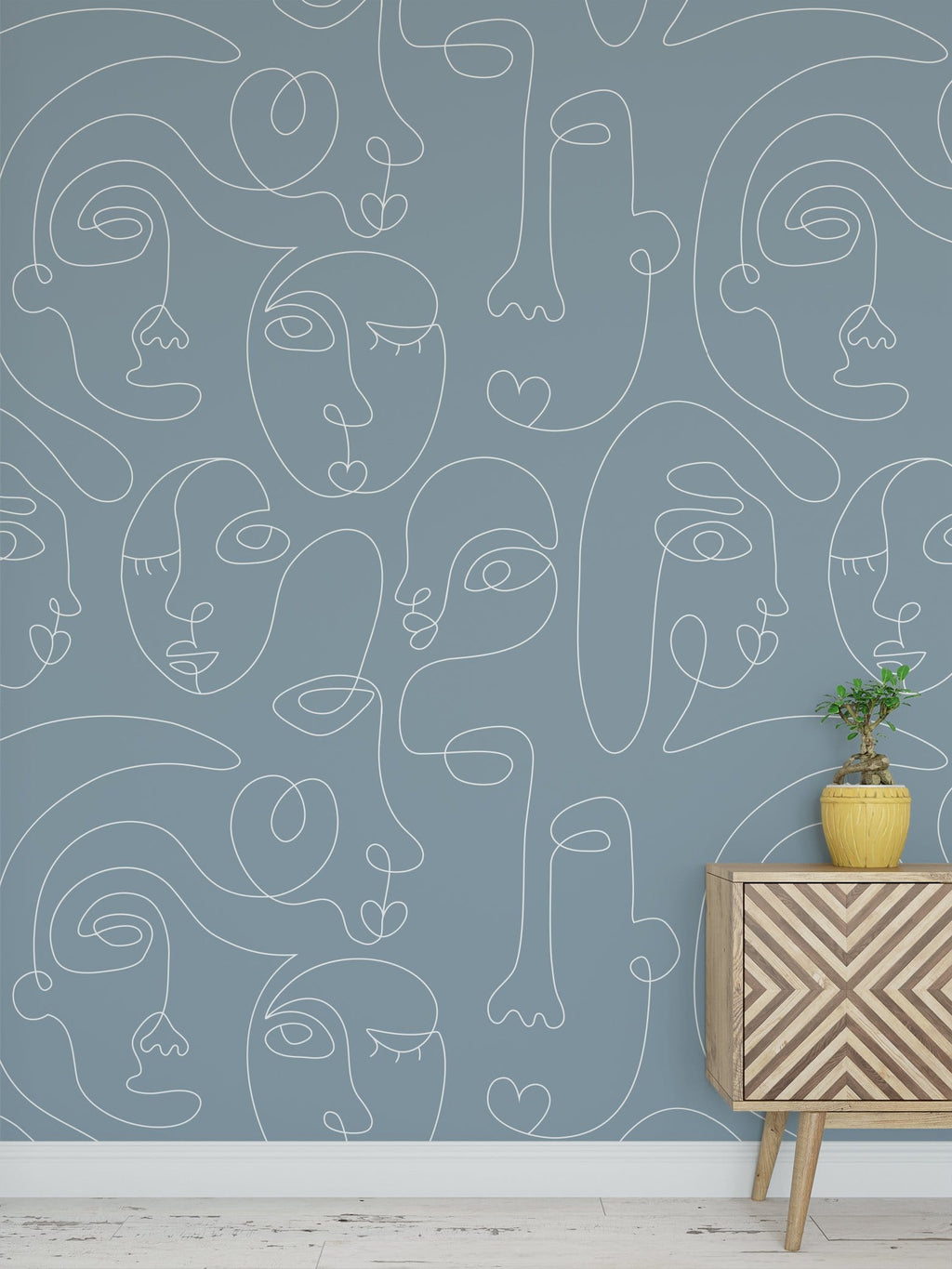 Blue Commune Peel and Stick Wallpaper