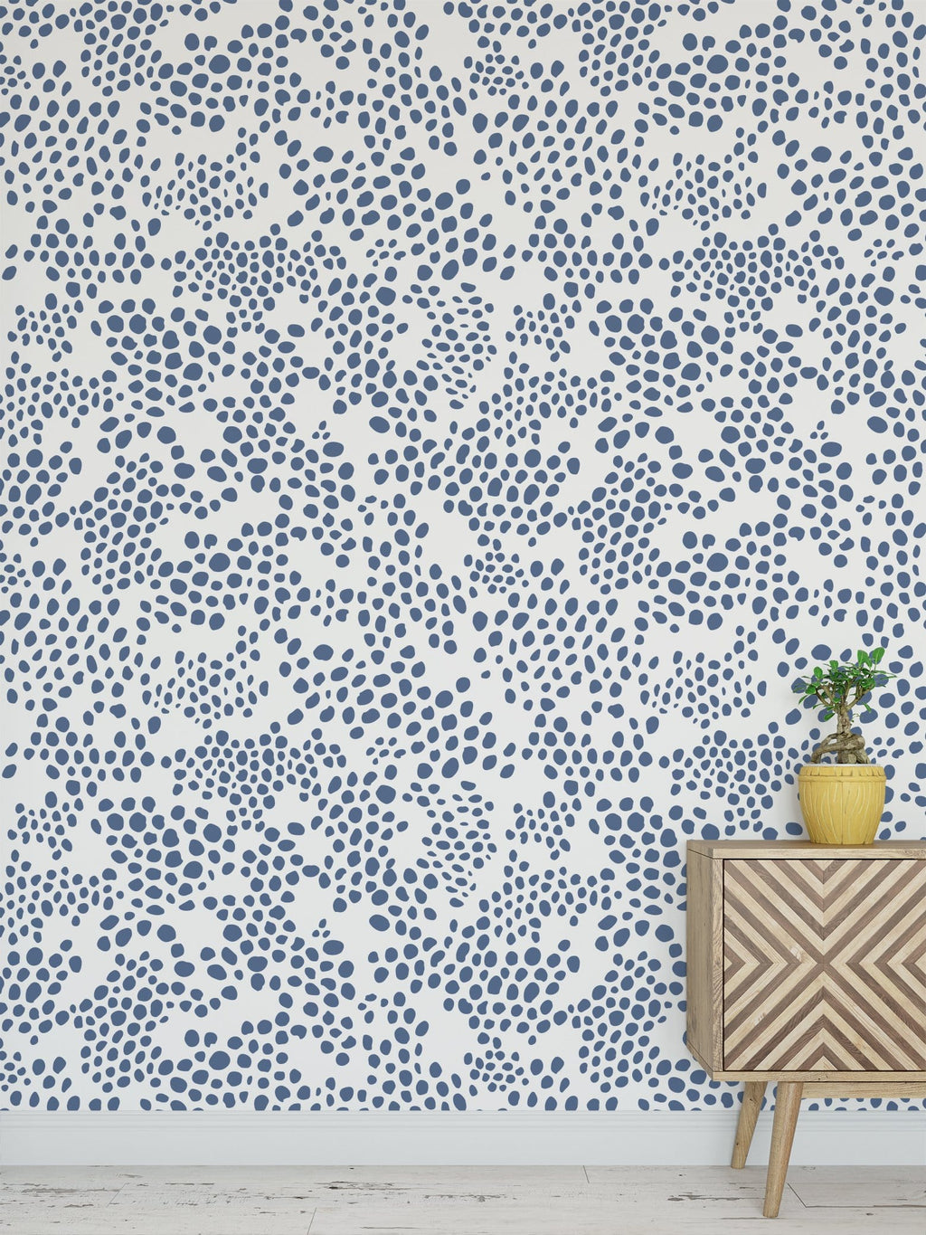 Dusky Blue Spot Peel and Stick Wallpaper