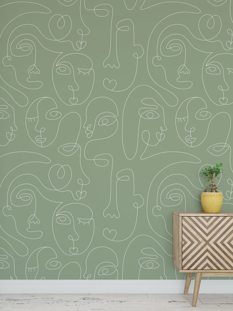 Green Commune Peel and Stick Wallpaper