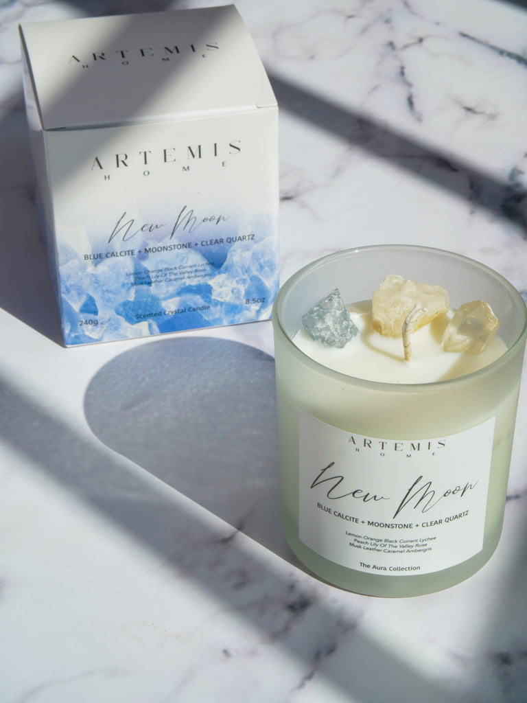 New Moon Recharge Crystal Candle