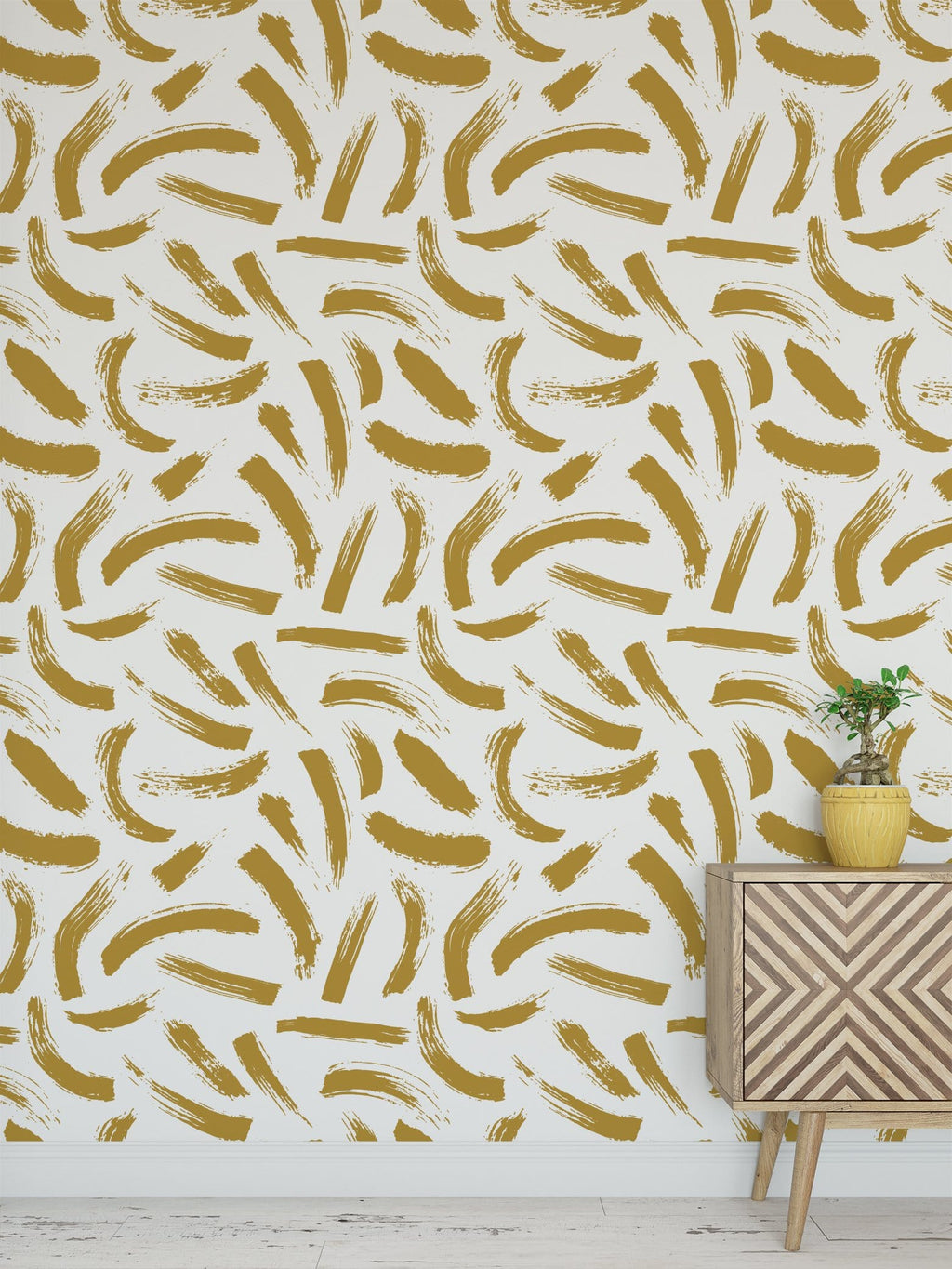 ochre yellow matisse brush strokes abstract peel and stick wallpaper