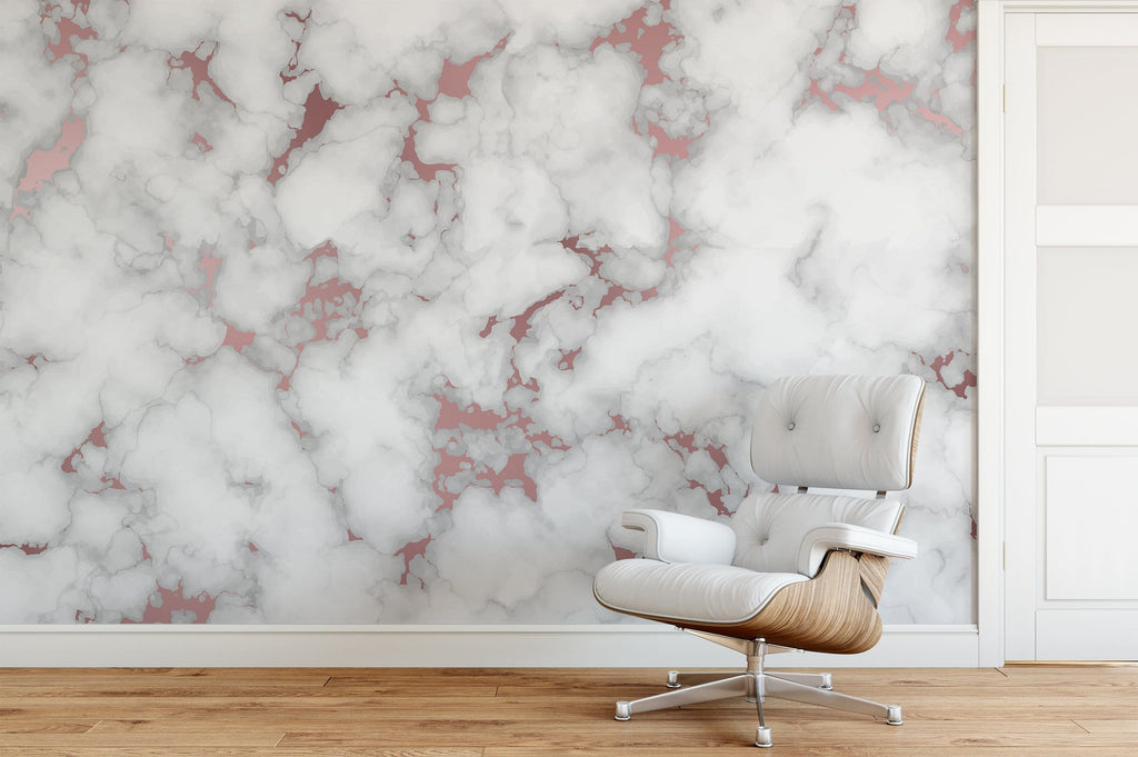 Rose Gold Marble Mural Peel and Stick Wallpaper