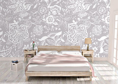 Taupe Lace Peel and Stick Wallpaper