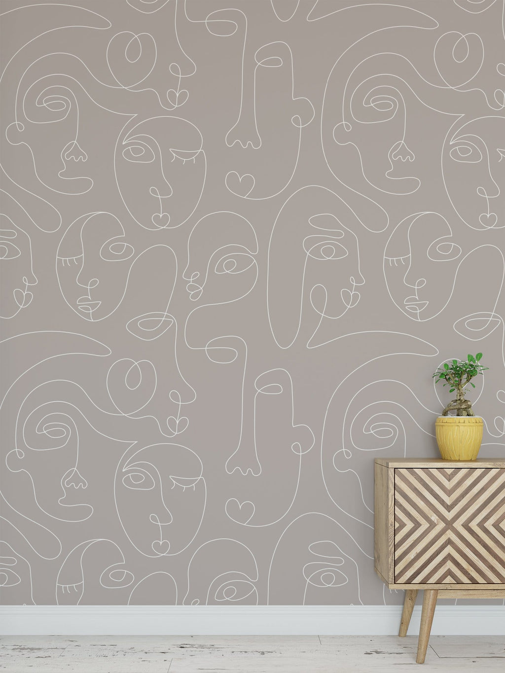 Taupe Commune Peel and Stick Wallpaper