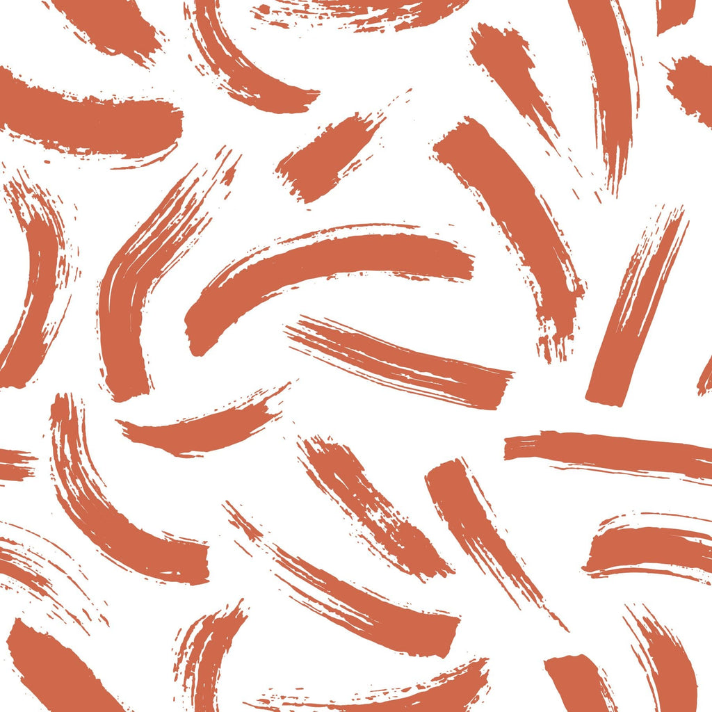 terracotta burnt orange red matisse brush strokes abstract peel and stick wallpaper