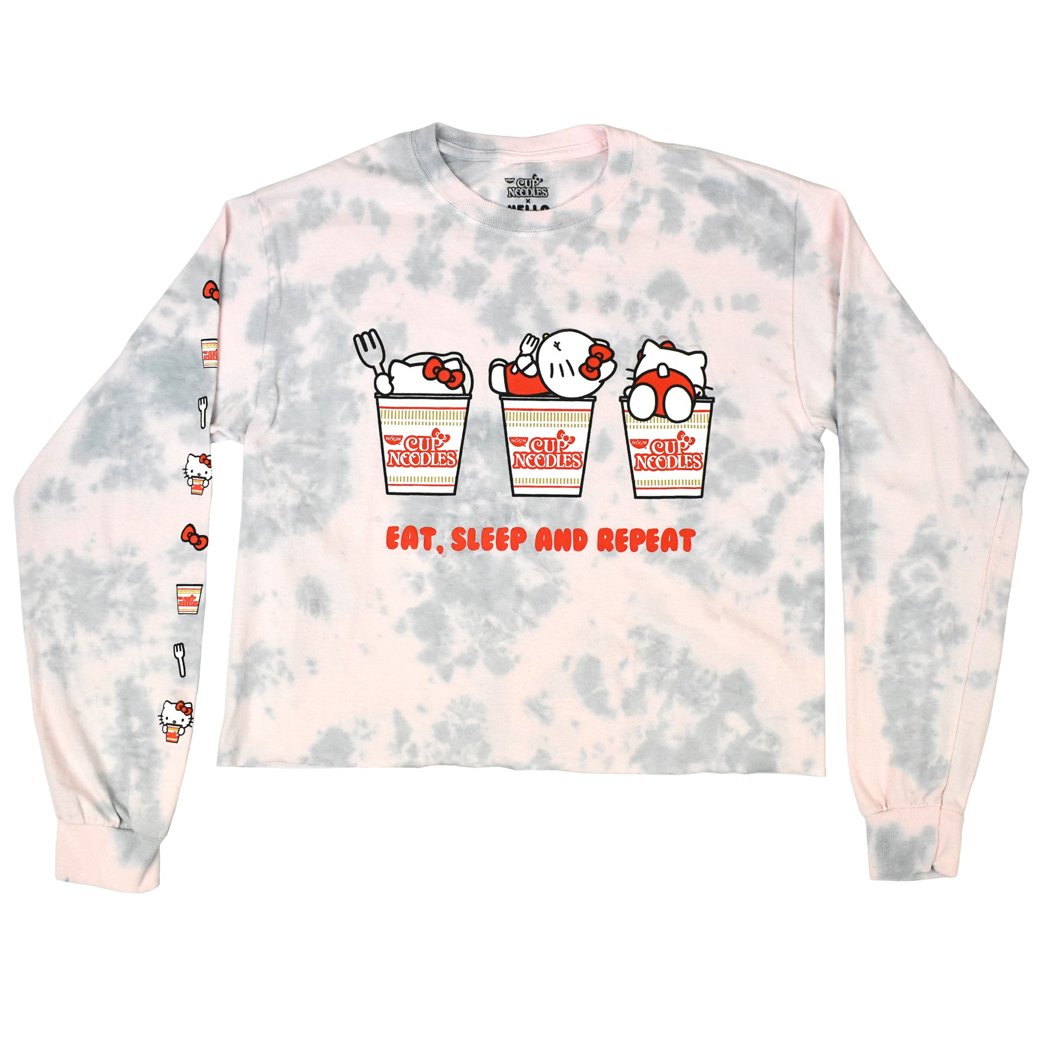 Cup Noodles x Hello Kitty Pink Cloud Washed Long Sleeve Crop Top