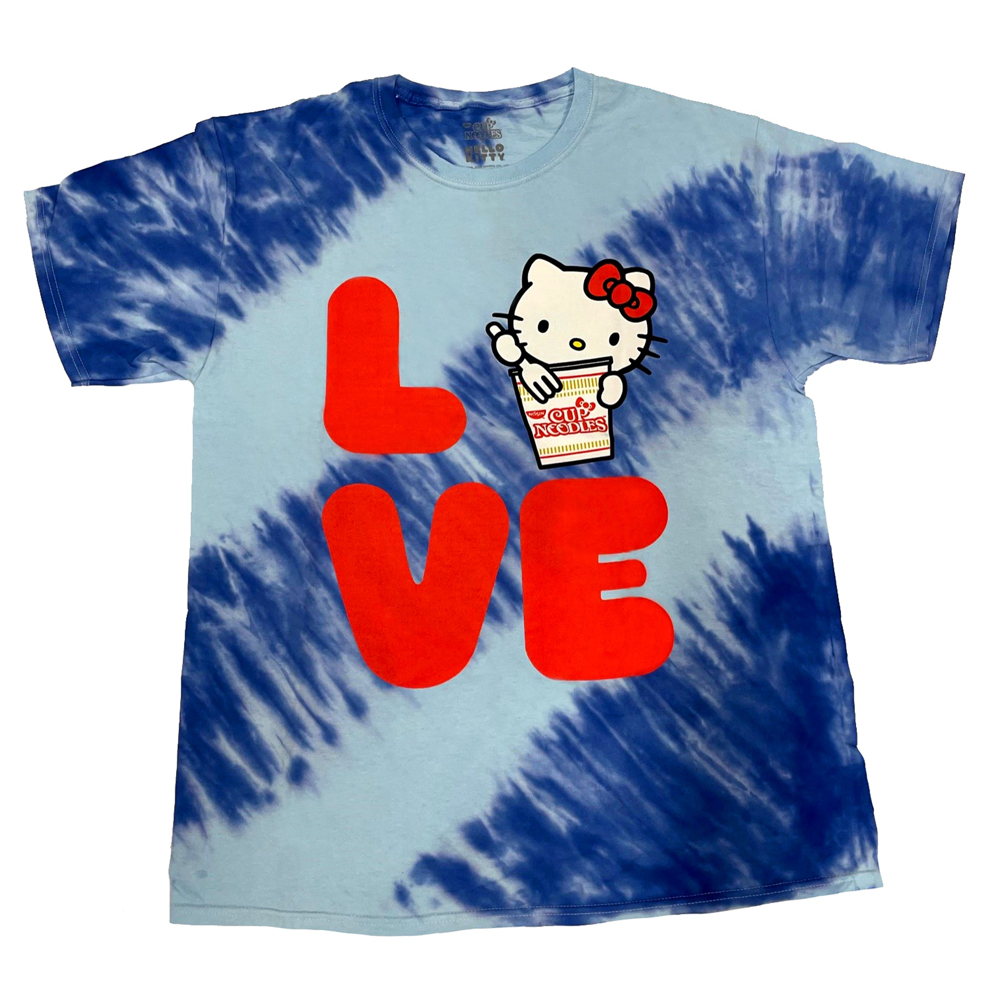 Cup Noodles x Hello Kitty Blue & White Tie Die Short Sleeve T Shirt