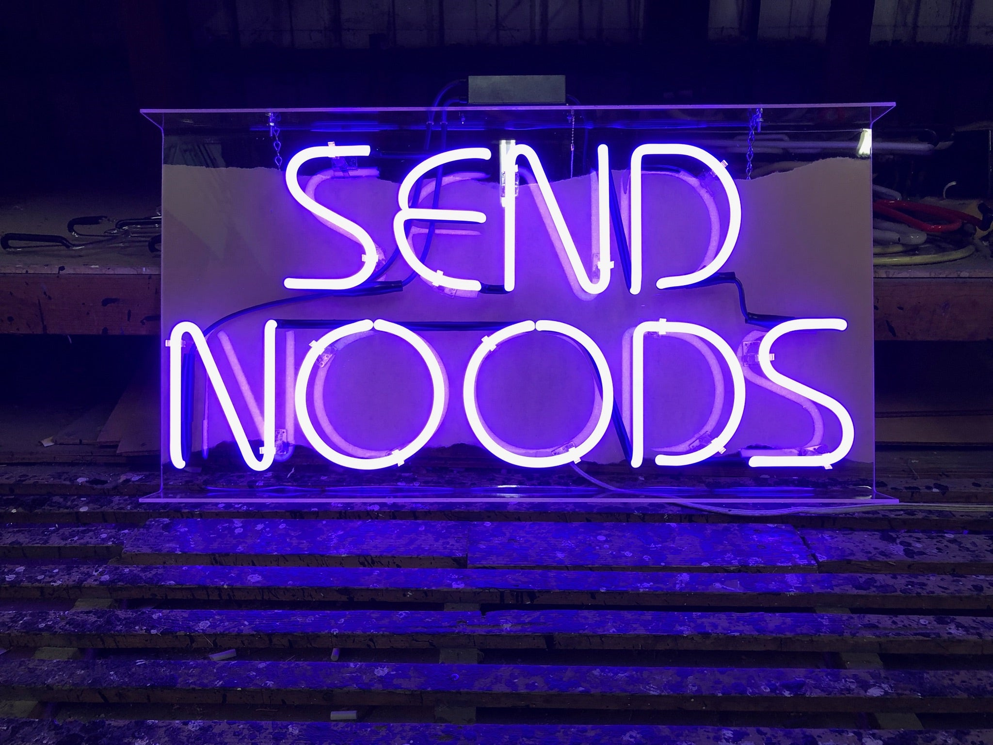 "LIMITED EDITION ""SEND NOODS"" NEON SIGN"