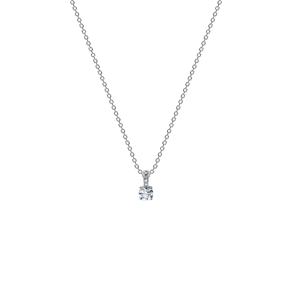 Aurora Solitaire Pendant Necklace - Platinum