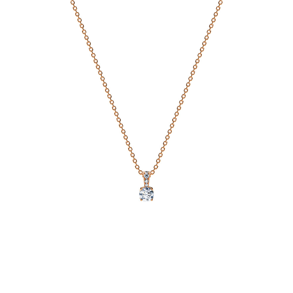 Aurora Solitaire Pendant Necklace - 18k Rose Gold