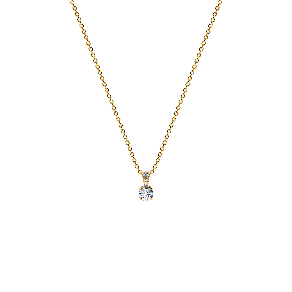 Aurora Solitare Pendant Necklace - 18k Gold