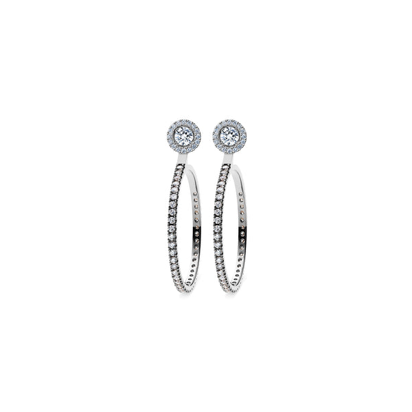 Skagi Diamond Studs Si - Platinum with Halo & Large Hoop Accessories