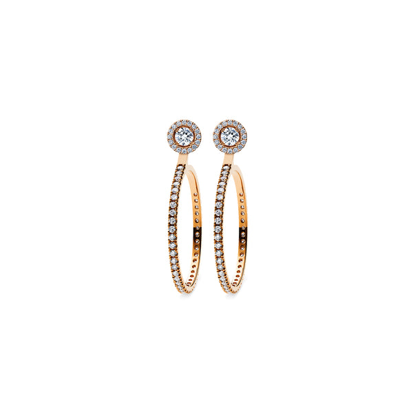 Skagi Diamond Studs Si - 18k Rose Gold with Halo & Large Hoop Accessories