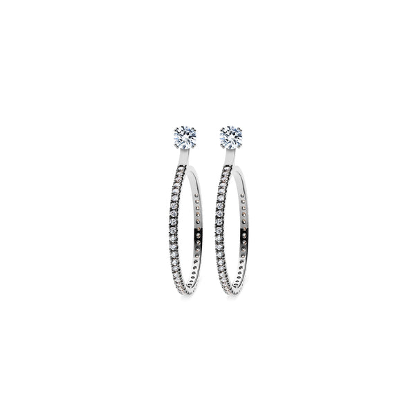 Skagi Diamond Studs Si - Platinum with Large Hoop Accessory