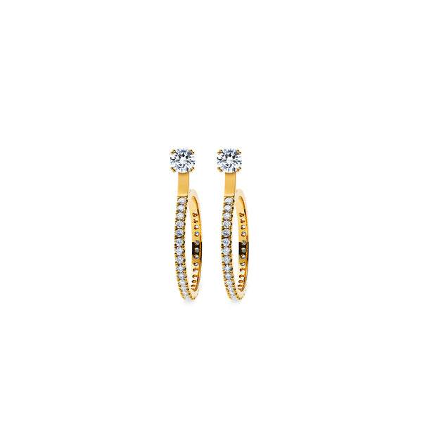Skagi Diamond Studs Si - 18k Gold with Small Hoop Accessory
