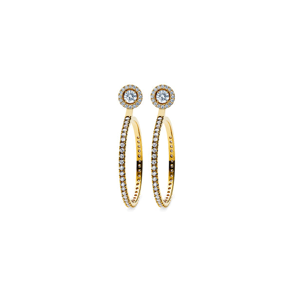 Godavari Aurora Diamond Studs - 18k gold with Solaris halo & Hoop accessories