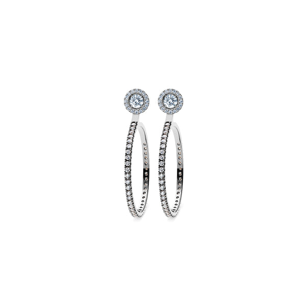 Godavari Aurora Diamond Studs - Platinum with Halo & Large Hoop Accessories