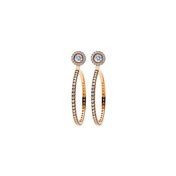 Godavari Aurora Diamond Studs - 18k Rose Gold with Halo & Large Hoop Accessories