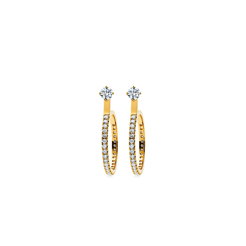 Godavari Aurora Diamond Studs - 18k Gold with Small Hoop Accessories