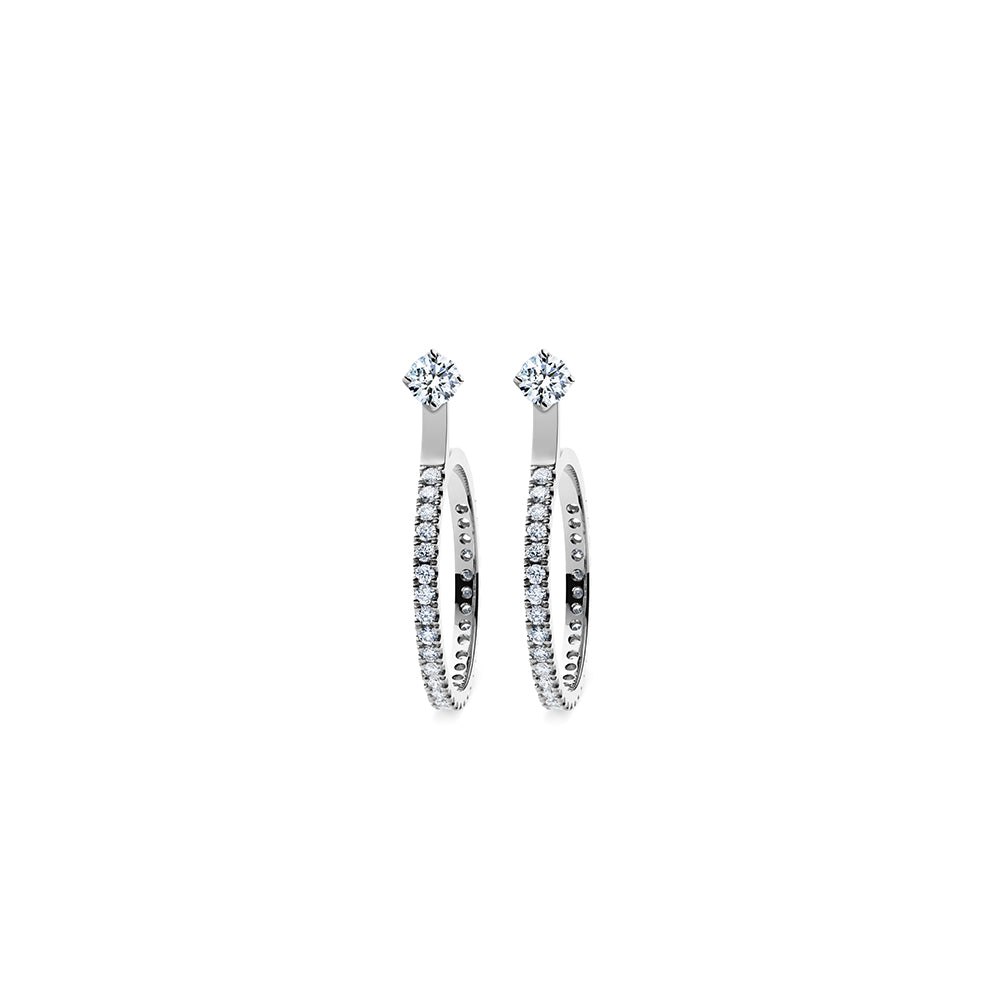 Aurora Diamond Studs Si - Platinum with Small Hoop Accessory