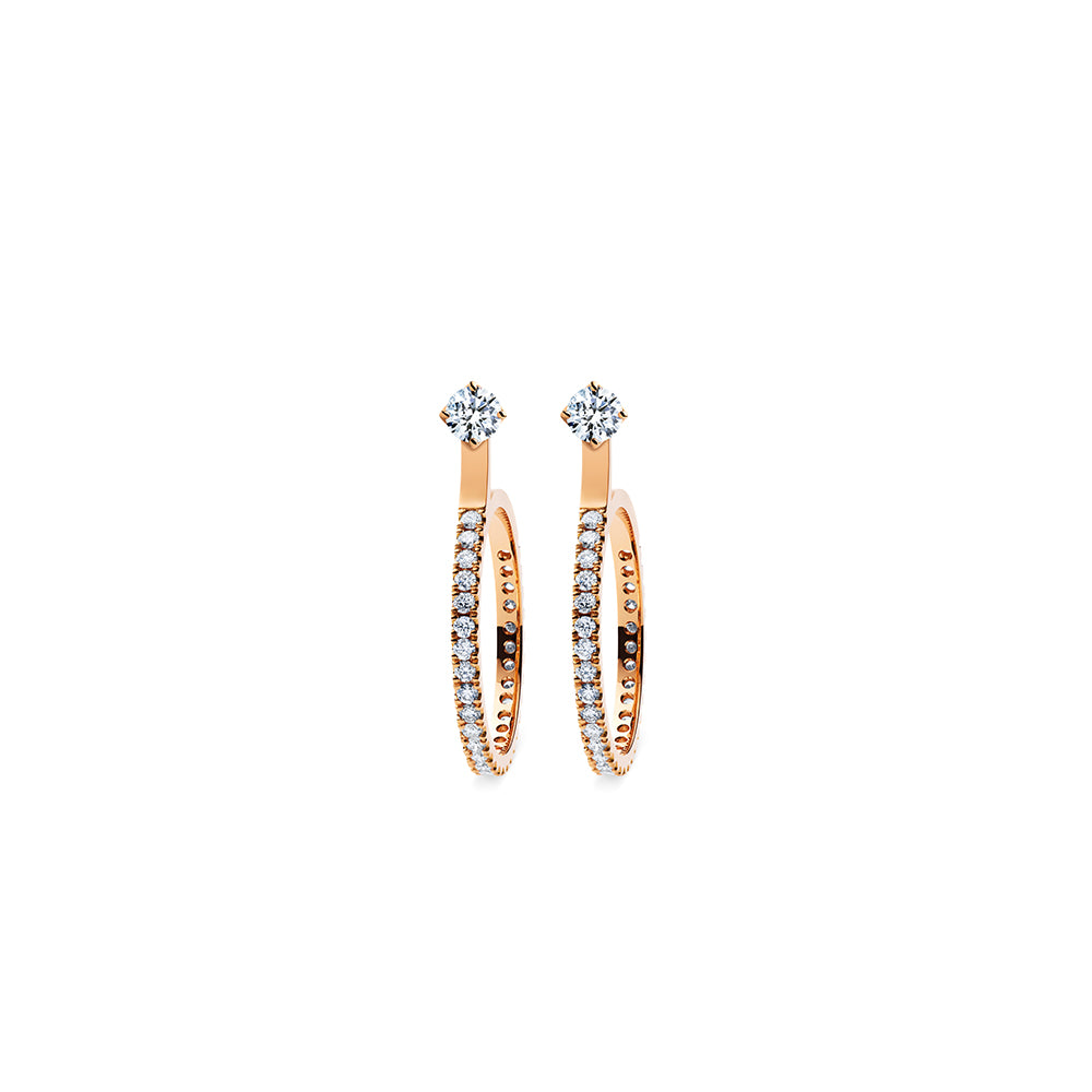Godavari Aurora Diamond Studs - 18k Rose Gold with Small Hoop Accessories