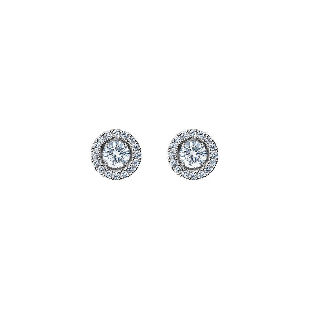 Godavari Aurora Diamond Studs - Platinum with Halo Accessories