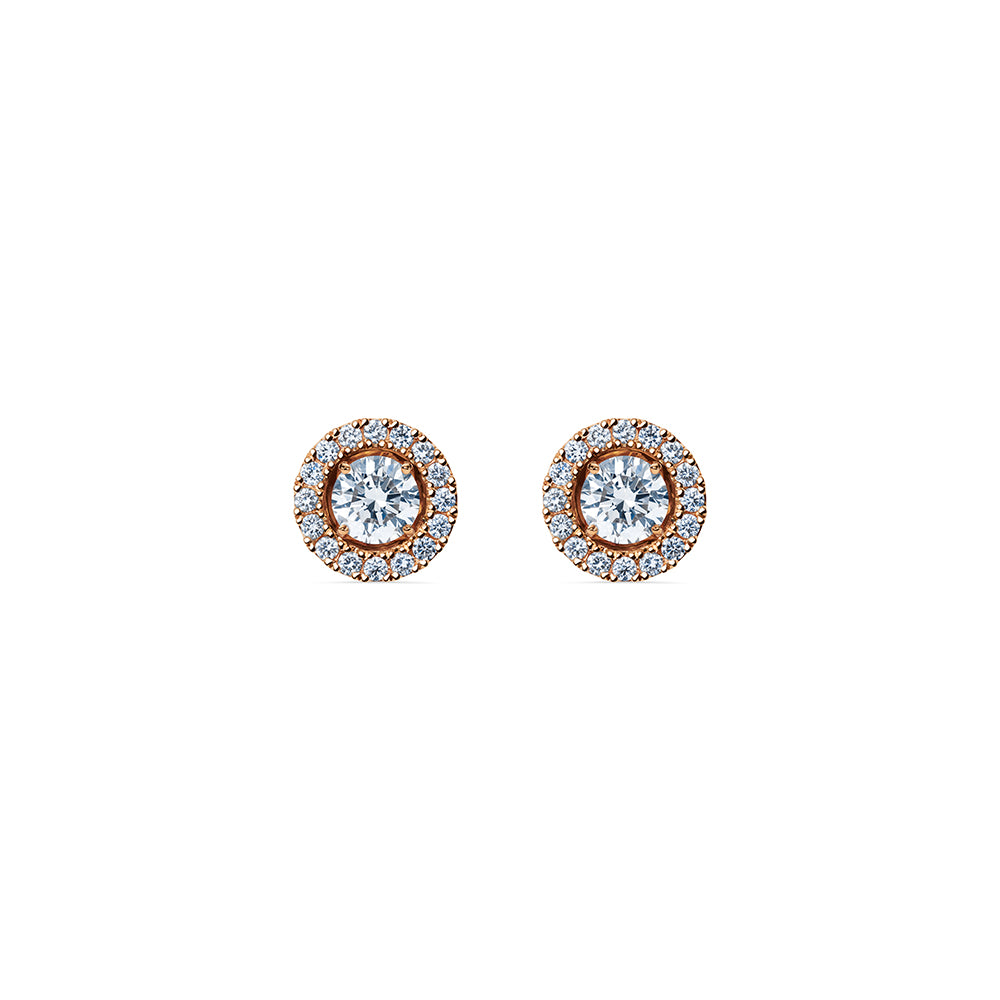 Godavari Aurora Diamond Studs - 18k Rose Gold with Halo Accessories