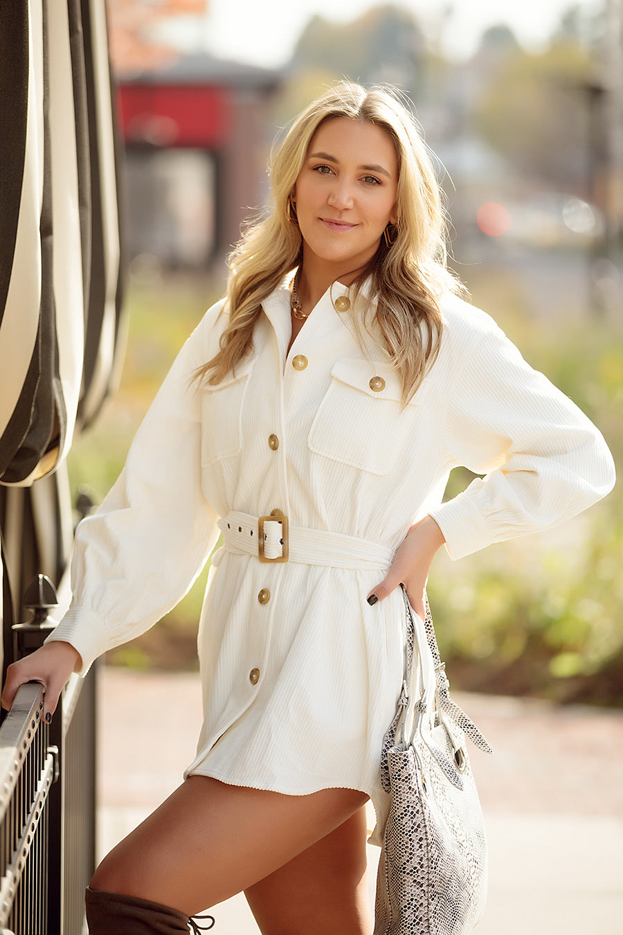 Button Front Cream Belted Corduroy Shirt Dress
