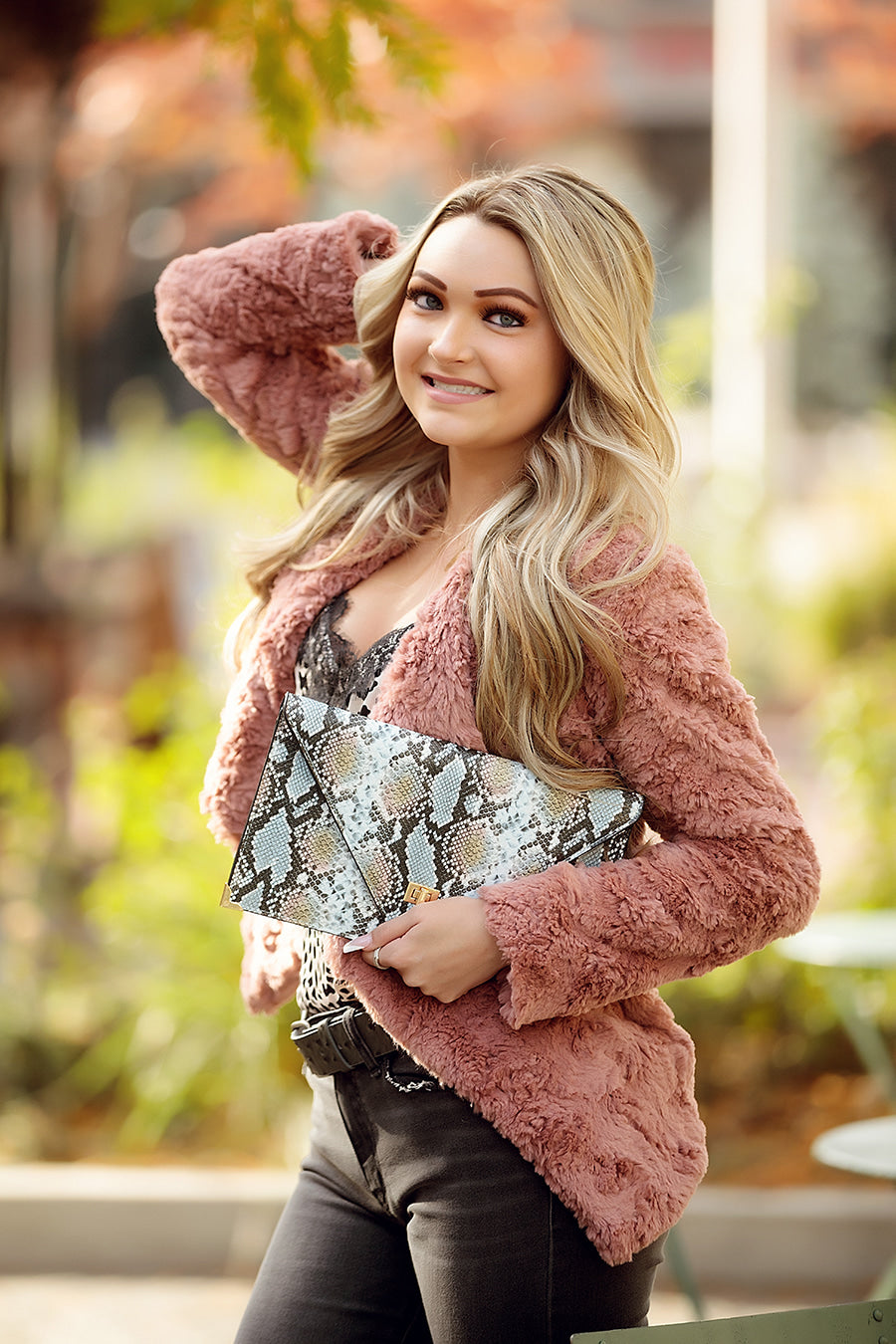 Pink Notched Collar Faux Fur Jacket
