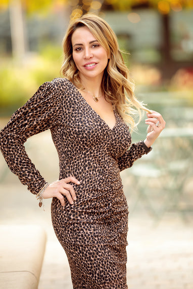 Ruched leopard-print mesh dress