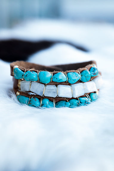 Bracelet with Brown Leather and Turquoise and Moonstones- All Natural Gemstones