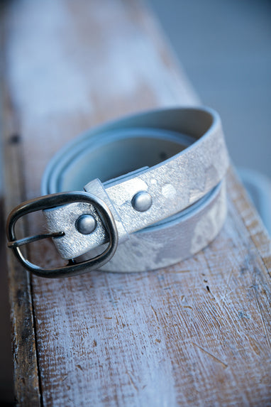 Belt with Cow Print and Leather