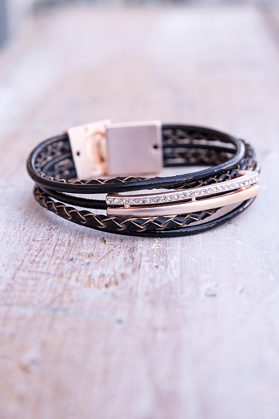 Braided Brown Leather with Rose Gold Bracelet