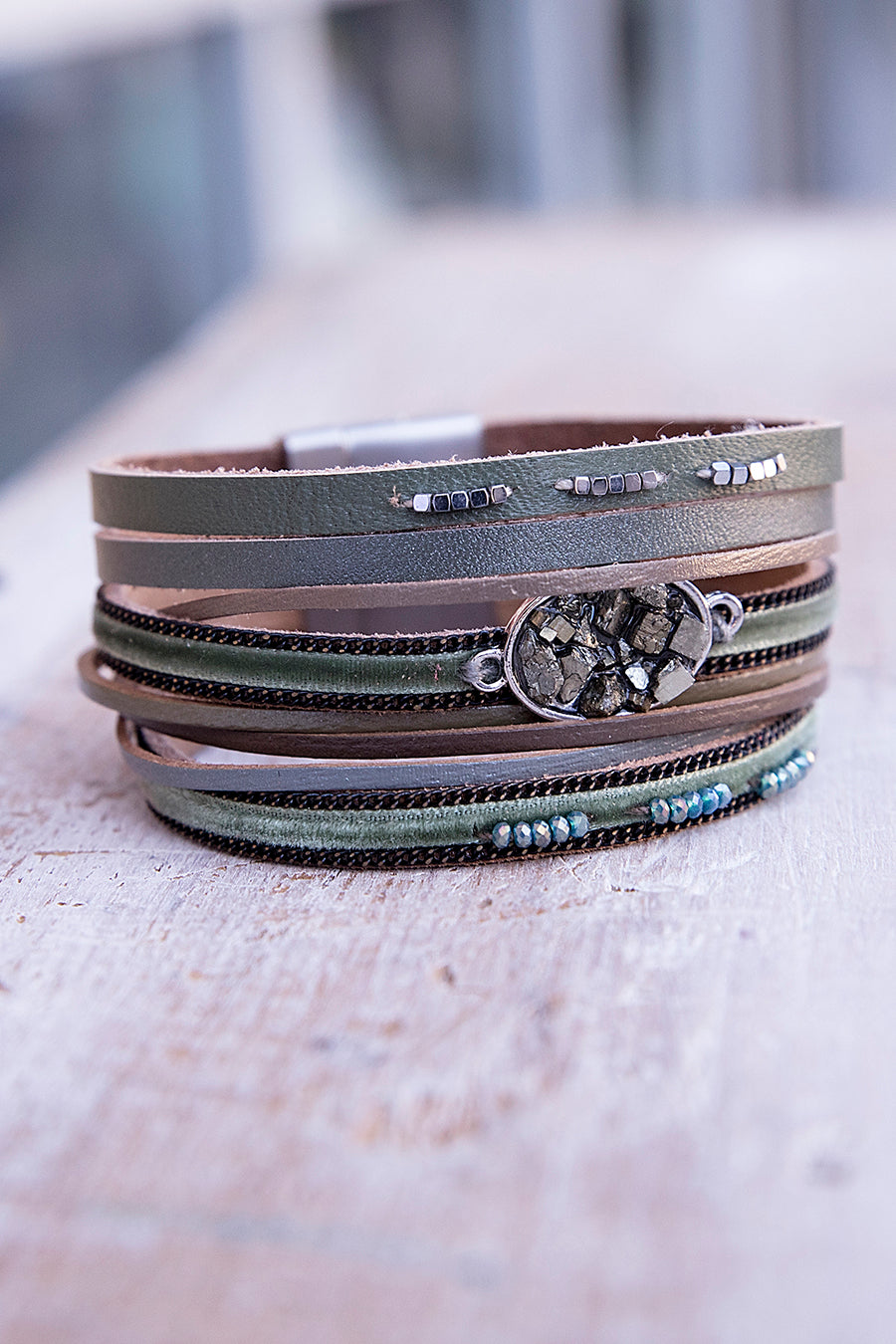 Olive Leather Magnetic Bracelet