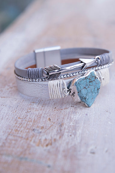 Turquoise and Silver Magnetic Bracelet