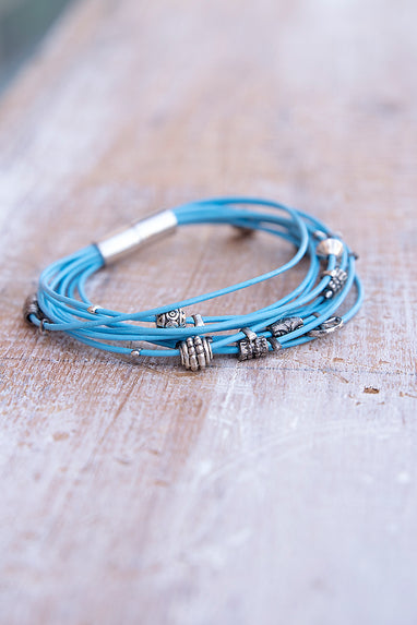 Light Blue with Silver Charm Magentic Bracelet