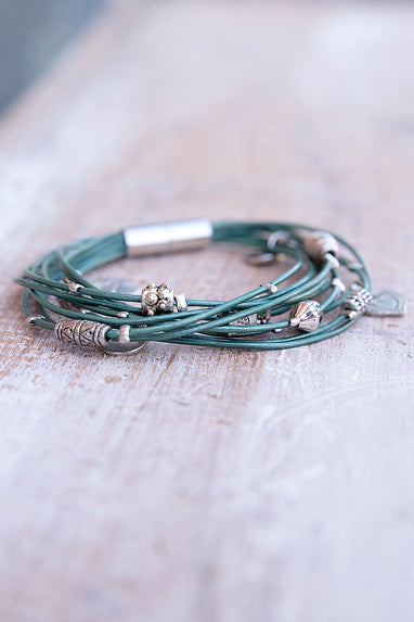 Mint Green with Silver Charm Magentic Bracelet