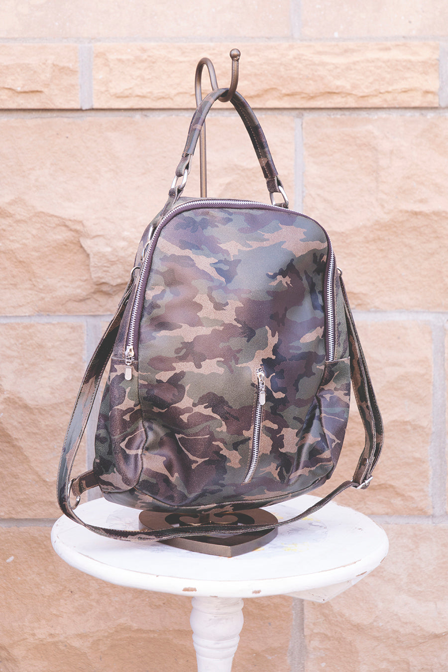 Leather Camo Backback